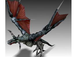 Flying Red Dragon Animated & Rigged 3d model preview