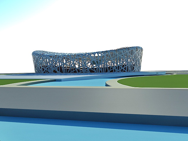 Birds Nest Stadium Beijing 3d rendering