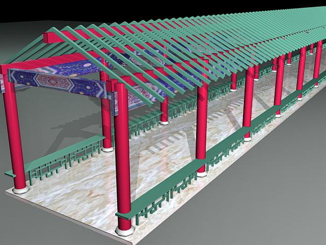 Chinese Garden Corridor 3d rendering