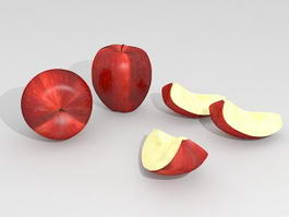 Red Apples with Slices 3d preview