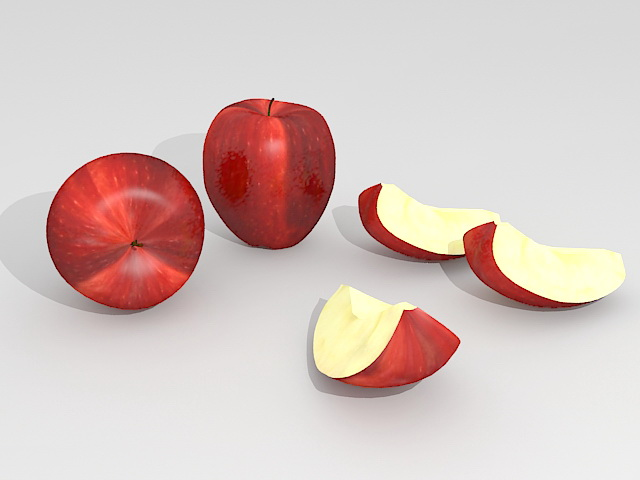Red Apples with Slices 3d rendering