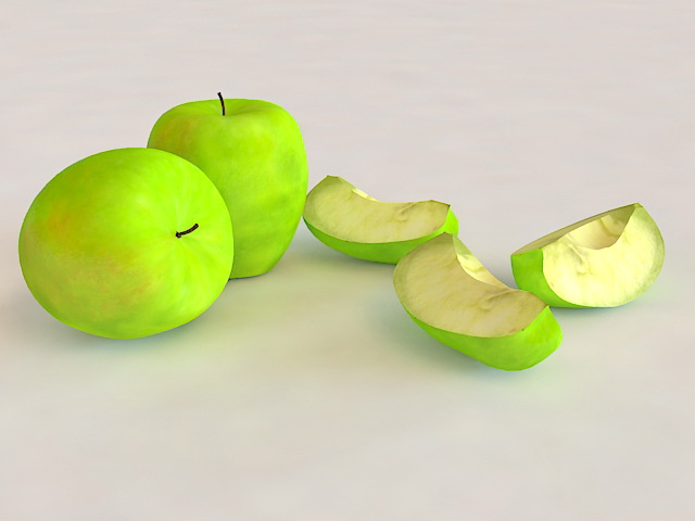 Granny Apples with Slices 3d rendering