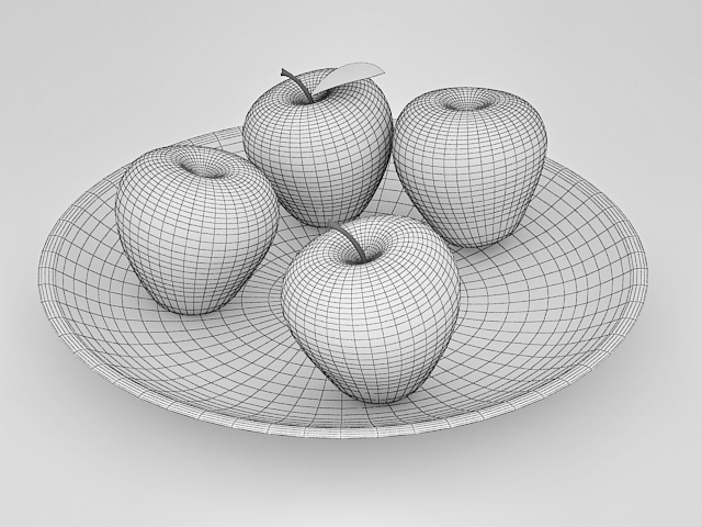 Apples on White Plate 3d rendering
