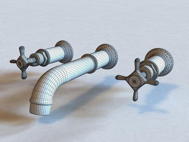 3-Hole Basin Mixer 3d rendering