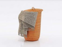 Wicker Laundry Basket 3d preview