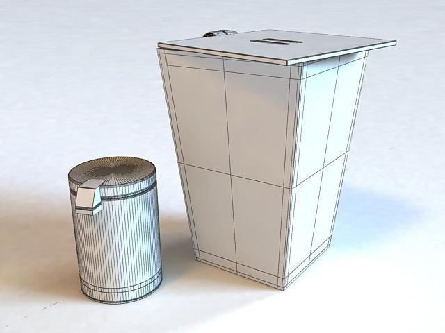 Wooden Laundry Bin and Trash Bin 3d rendering
