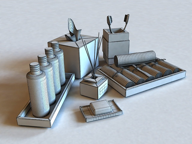 Wicker Bath Accessories Sets 3d rendering