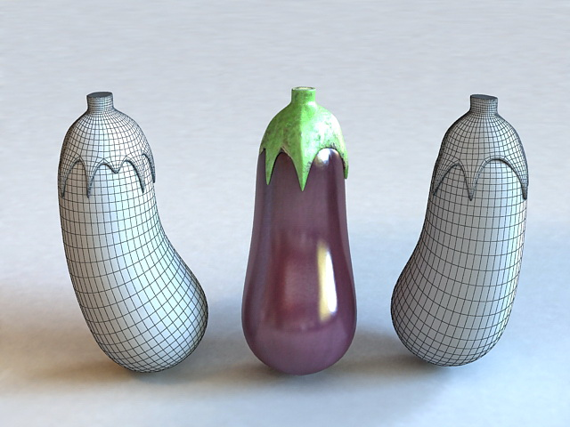 Purple Vegetables Eggplant 3d rendering