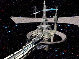 Futuristic Space Station Concept 3d preview