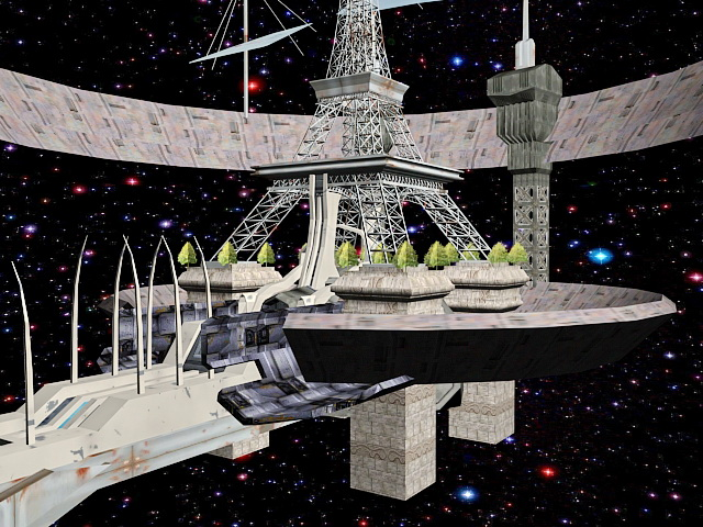 Futuristic Space Station Concept 3d rendering