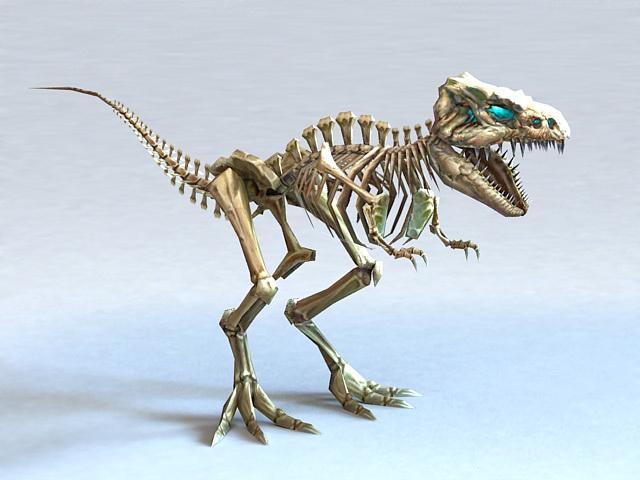 Skeletal T-Rex 3d rendering