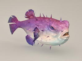 Purple Puffer Fish 3d model preview