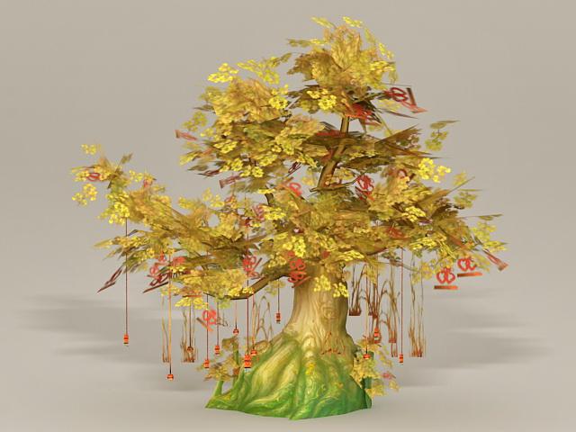 Anime Wishing Tree 3d rendering