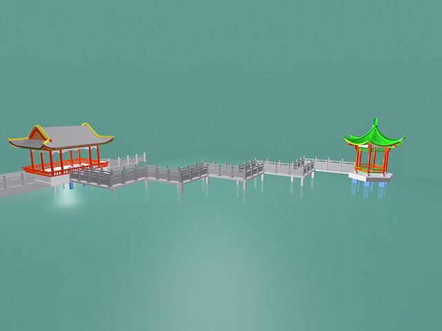 Chinese Overwater Pavilion 3d rendering