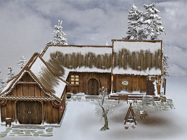 Medieval Farmhouse in Snow 3d rendering
