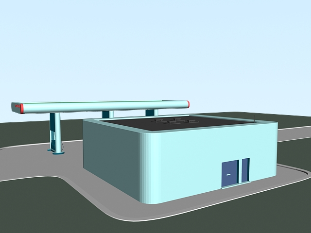 Express Gas Station 3d rendering