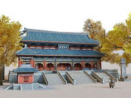 Ancient Chinese Temple 3d model preview