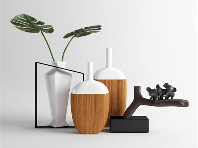 Modern Decorative Vases Set 3d rendering
