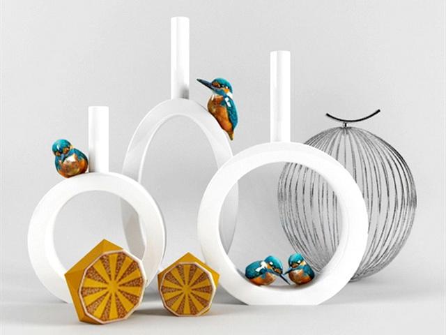 Bird Vase Decorations 3d rendering