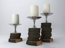 Tree Stump Candle Holders 3d preview