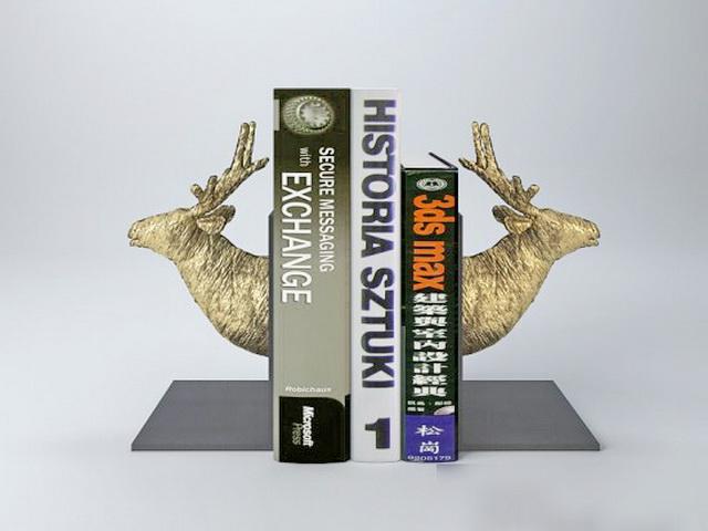 Deer Head Bookends 3d rendering