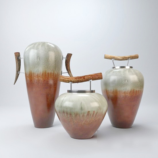 Deco Clay Jars Pottery 3d rendering