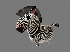 Cartoon Zebra Rigged 3d model preview