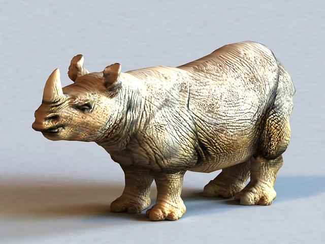 Sumatran Rhinoceros 3d rendering