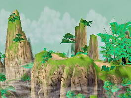 Beautiful Mountains with Trees and Water 3d preview