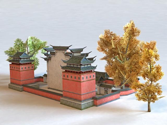 Chinese Monastery 3d rendering
