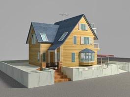 Suburban Contemporary House 3d model preview