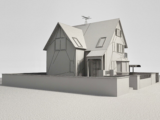 Suburban Contemporary House 3d rendering