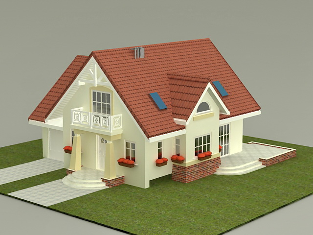 Small House Plan 3d model 3ds Max files free download ...