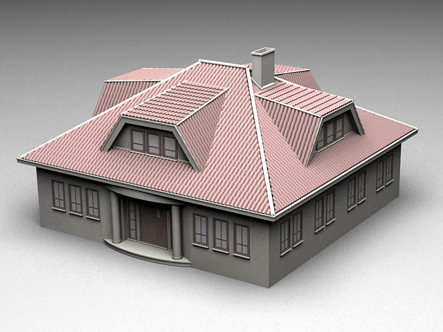 Historical Mansion House 3d rendering