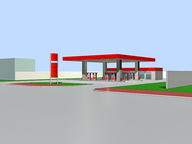 Gas Station Convenience Store 3d rendering