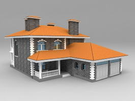 House with Garage Attached 3d preview