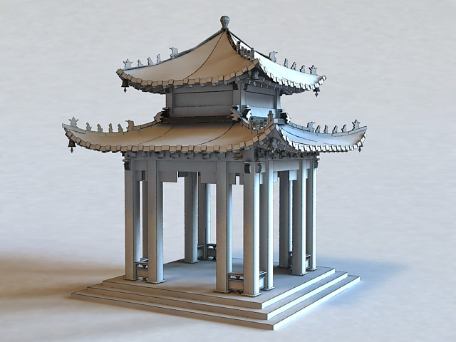 Chinese Pavilion Architecture 3d rendering