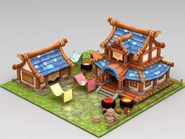 Anime Farmyard Scene 3d preview