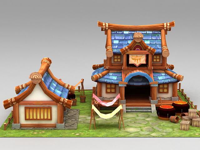 Anime Farmyard Scene 3d rendering