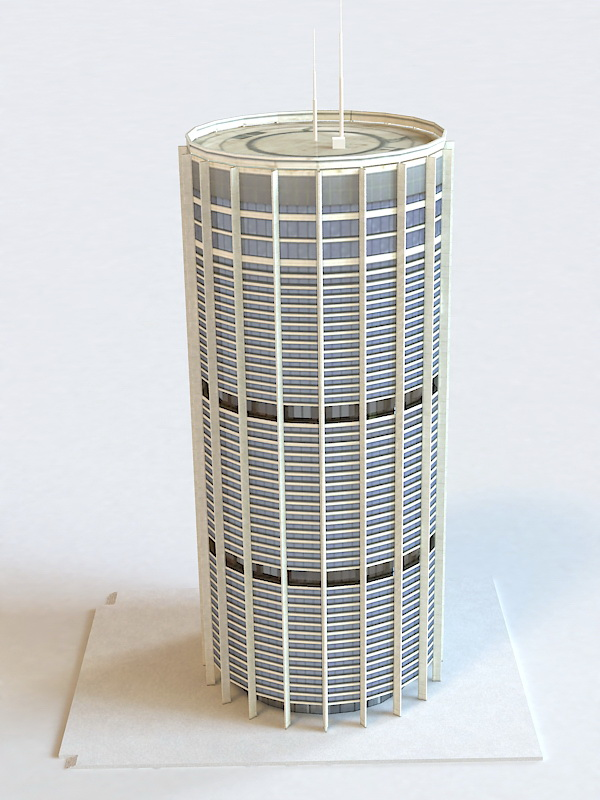 Cylinder Building Architecture 3d rendering