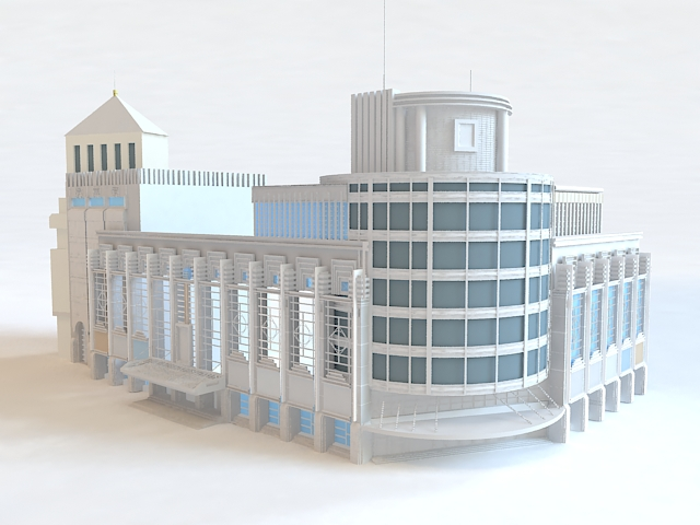 Department Store Exterior 3d rendering