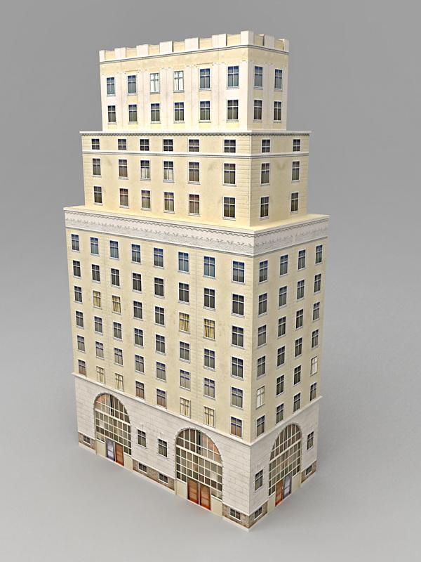 Old Office Architecture Exterior 3d rendering