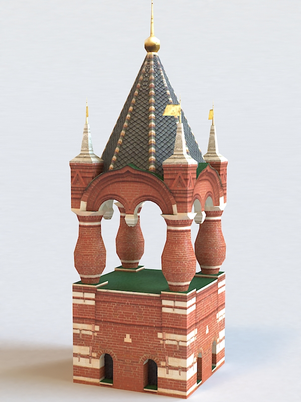 Russia Red Tower 3d rendering