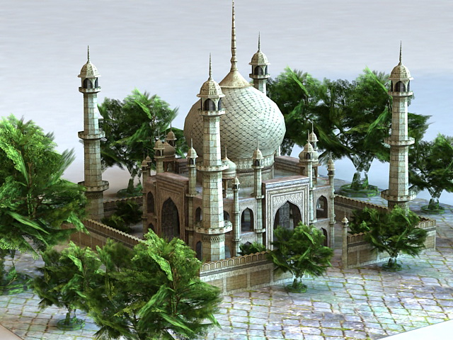 Arab Palace Architecture 3d rendering