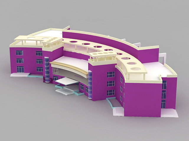 Public Library Building 3d rendering