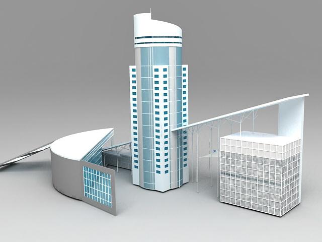 Business Center Buildings 3d rendering