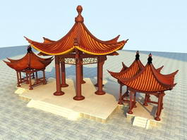 China Pavilions 3d model preview