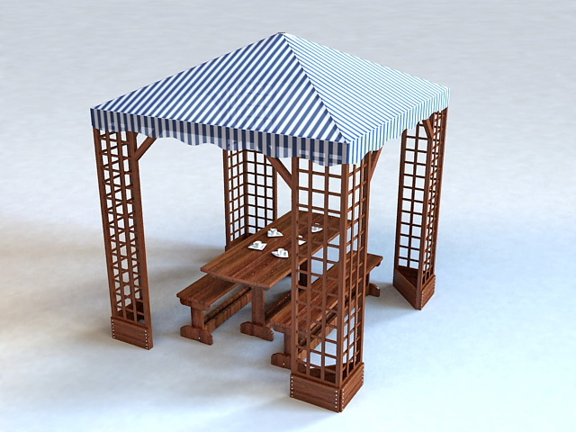 Outdoor Patio Canopy Gazebo 3d rendering