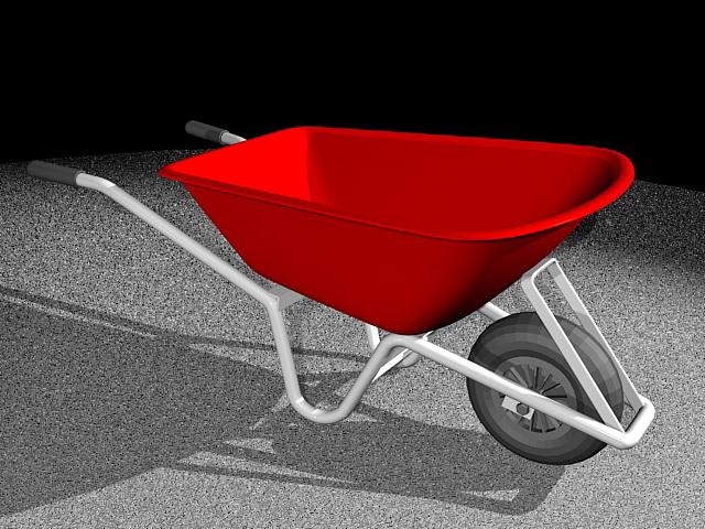 Red Wheelbarrow 3d rendering