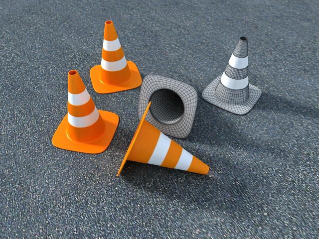 Orange Traffic Cones 3d rendering
